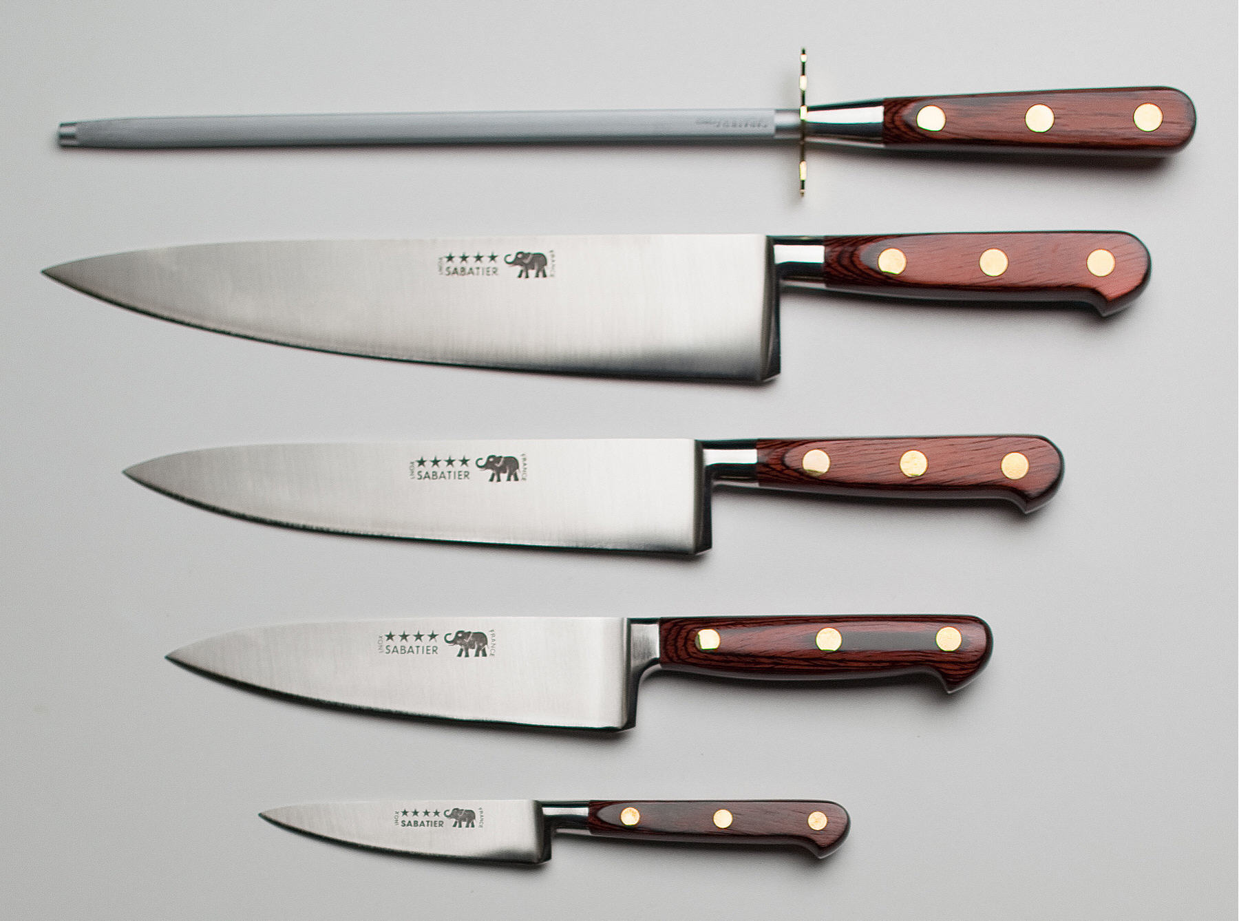 Merveilleux Thiers Issard Four Star Elephant Sabatier Knives 5 Pc Knife Set   Red  Stamina