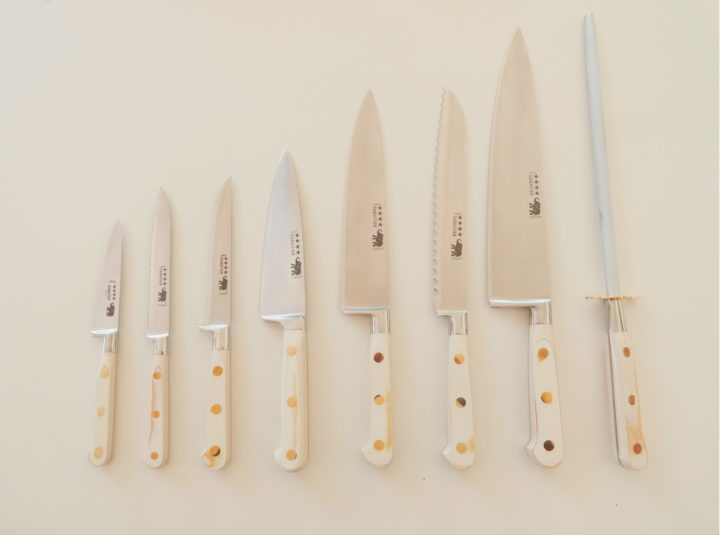 white micarta (linen) handle kitchen knife set