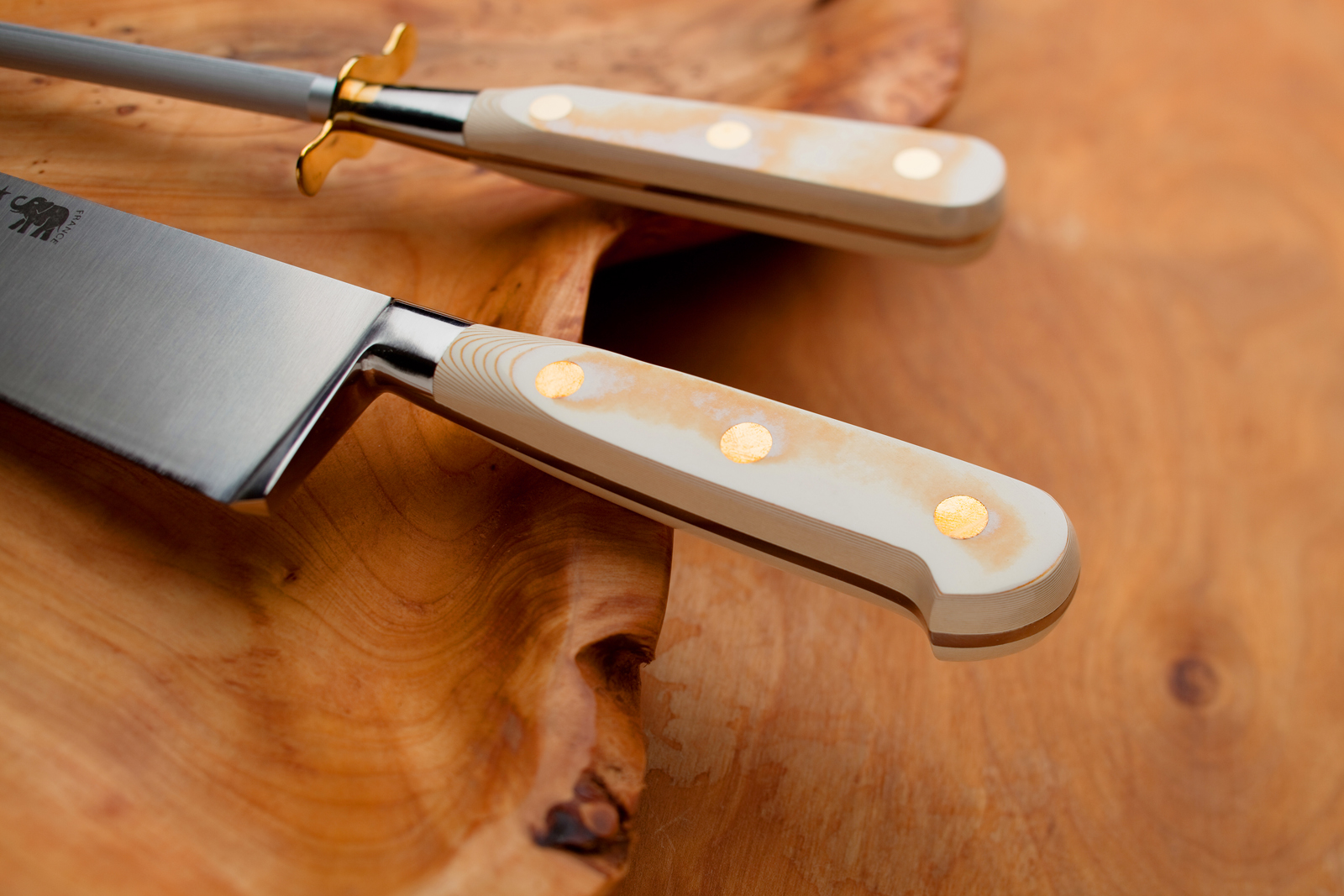 White Micarta Handles Great French Knives